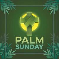 palma domingo com cruz e ramos de palmeira vetor
