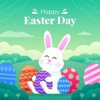 feliz desenho de coelho de ovo de páscoa vetor