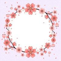 fundo de quadro de lindas flores de cerejeira vetor
