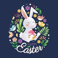 feliz design de coelho de páscoa vetor