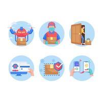 conjunto de ícones de serviço de entrega sem tato vetor