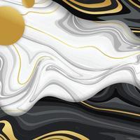 fundo de mármore líquido com linha dourada vetor