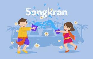 festival songkran com duas crianças brincando vetor