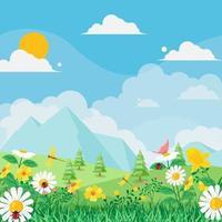 fundo de paisagem de primavera vetor