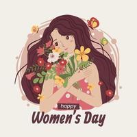 mulheres trazem flores no dia das mulheres vetor