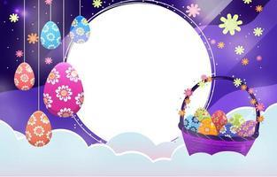 céu nublado com decoração de ovos de páscoa vetor