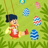 garota brincando de swing com seu lindo conceito de ovo de páscoa vetor