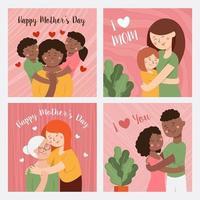 conjunto de cartão do dia das mães vetor