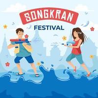 crianças brincando de água no dia de Songkran vetor