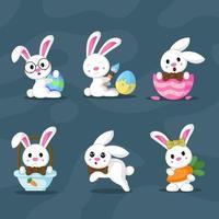 conjunto de caracteres do coelhinho da páscoa vetor