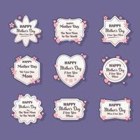 pacotes de adesivos de feliz dia das mães vetor