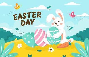 dia de páscoa com ilustração de coelho fofo vetor