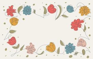 flores em uma linha de elementos de arte vetor