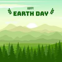 feliz dia da terra fundo com floresta de pinheiros vetor