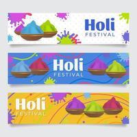 banner do festival holi com respingos de tinta vetor
