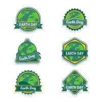 desenho de adesivo estilo distintivo do dia da terra vetor