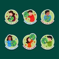 desenho de autocolante de personagens fofinhos do Dia da Terra vetor