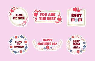 Conjunto de modelos de adesivos de feliz dia das mães vetor