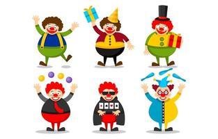 Conjunto de personagens de desenhos animados de palhaço feliz vetor
