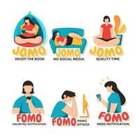 várias representações de fomo vs jomo vetor