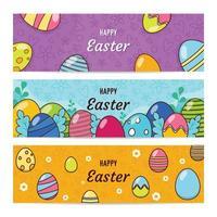 conjunto de banner de ovo de páscoa feliz vetor