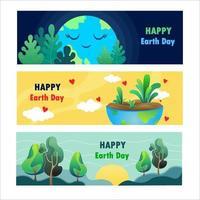 banner feliz dia da terra vetor