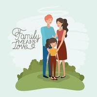 cartão de dia da família com pais e filha vetor