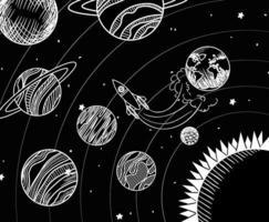 desenhos de foguetes e planetas do projeto do sistema solar vetor