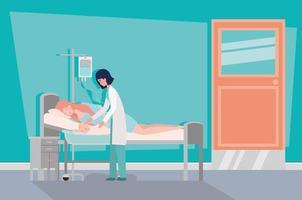 mãe fofa com bebê recém-nascido e médico no quarto do hospital vetor