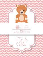 é um cartão de chá de bebê de menino com ursinho de pelúcia vetor