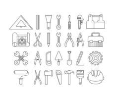itens de conjunto de ferramentas de construção vetor