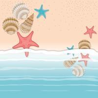 desenho de concha do mar e estrela na areia vetor