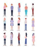 grupo de personagens inter-raciais de mulheres grávidas