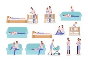 conjunto de pais cuidando de bebê recém-nascido