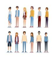 design de avatares femininos e masculinos vetor