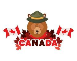 animal urso para a celebração do dia do Canadá vetor