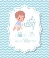 é um cartão de chá de bebê de menino com uma criança vetor