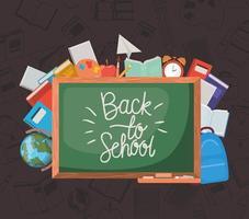 quadro-negro e material de volta à escola vetor