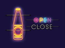 luz neon de garrafa de cerveja vetor
