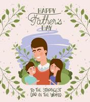 cartão de feliz dia dos pais com pai e filhos