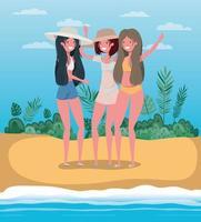 meninas com design de moda praia de verão