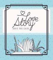 Cartão de amor com cena de algas e plantas marinhas