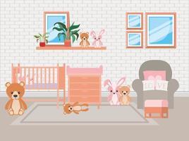 lindo fundo do quarto do bebê vetor