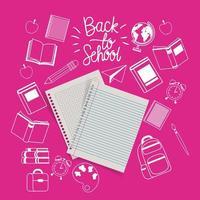 folhas de papel do caderno e suprimentos de volta às aulas vetor