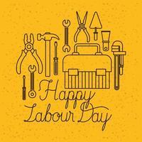 celebração do dia do trabalho com caixa de ferramentas vetor