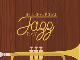 pôster do dia do jazz com trompete vetor