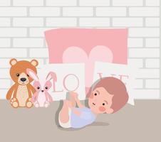garotinho com brinquedo de pelúcia personagem vetor