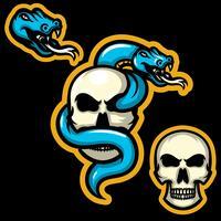 Mascotes de caveira de cobra vetor