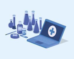 serviço de telemedicina laptop com tubos de ensaio vetor
