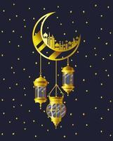 lua dourada com prédios de mesquita e lâmpadas penduradas